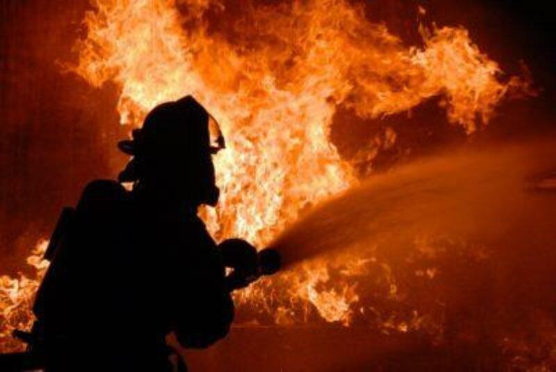 Fireman battling big fire